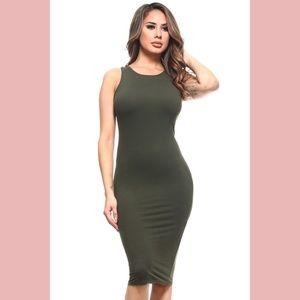 Dresses & Skirts - Olive Green Bodycon Midi Dress